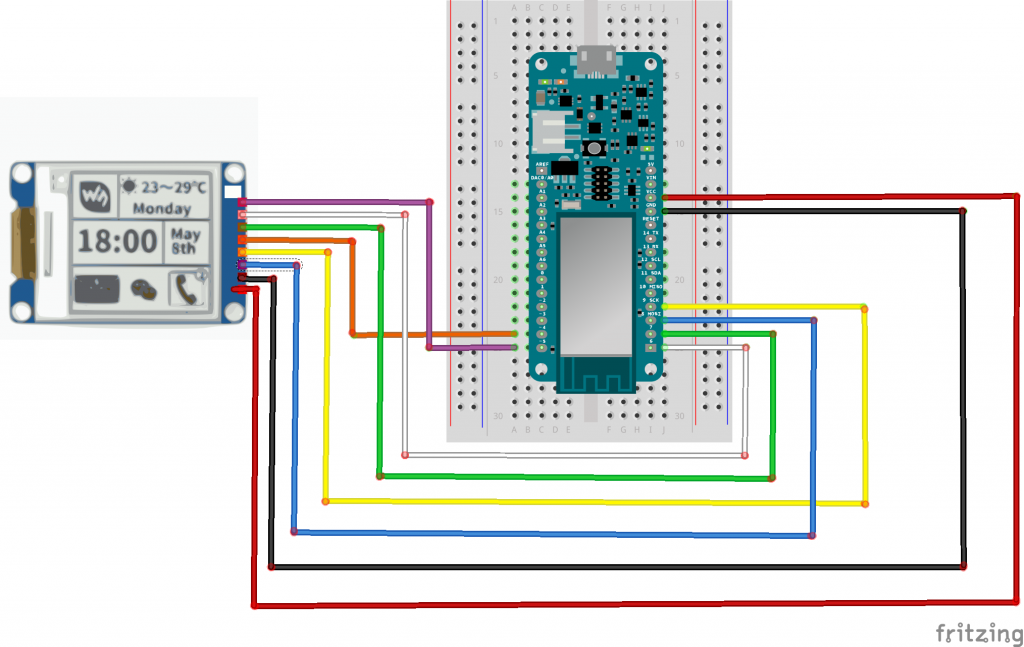 Arduino MKR1000 with Waveshare 1 54 Inch E-Paper Display
